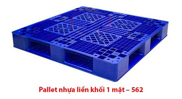 Pallet nhựa liền khối 1 mặt – 562